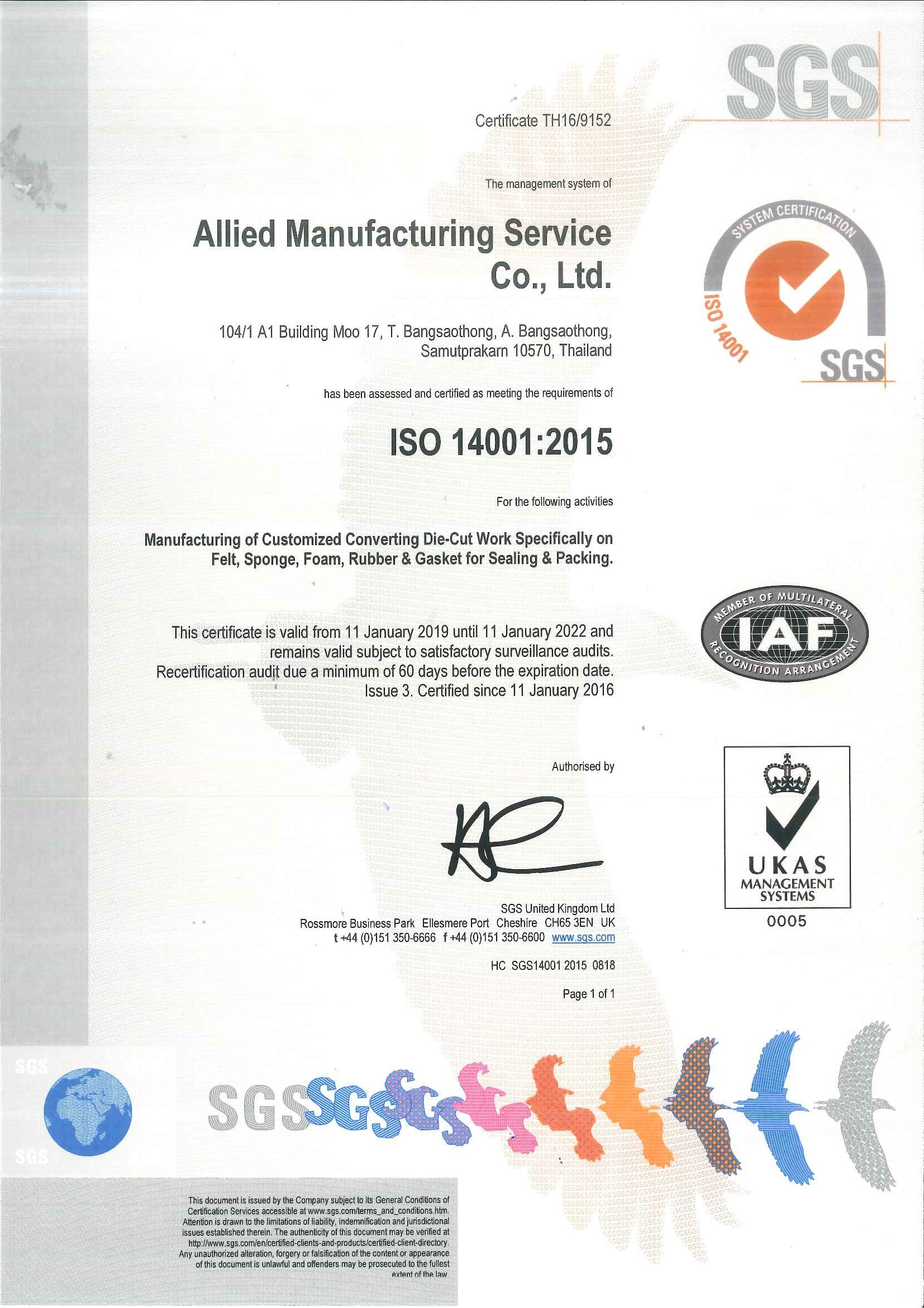 ISO 14001_2015Cert. (TH16-9152) 11 Jan_19-11Jan22